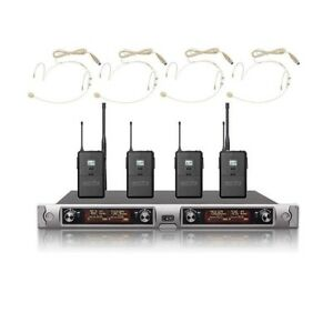 Professional 4 Channel UHF Wireless Microphone Beige Headset Microphone system