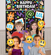 EMOJI birthday party wall/door Scene Setter & photo booth kit EMOTICON 17pcs