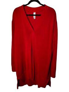 MARLAWYNNE Sweater Size 3XL V-Neck Jumper Red Long Sleeved Lightweight Knit
