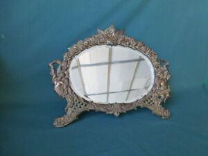 Antique Cast Iron Gilded Stand Up Dresser Mirror with Cherubs and Beveled Mirror