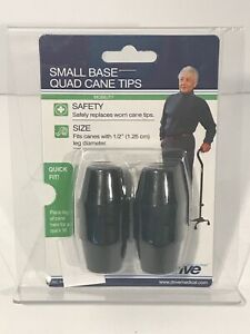 NEW Drive Medical Small Base Quad Cane Tips, Black