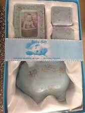 Baby Jungen Set Sparschwein Milchzähne Haare Bilderrahmen Geschenk zur Geburt