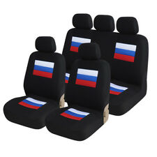 9PCS Car seat covers Sandwich material Breathable Synthetic Leather Auto black