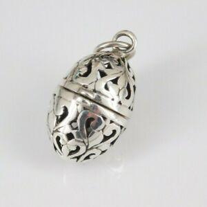 925 Sterling Silver Filigree Vinaigrette Pendant