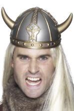 PLATA Casco Vikingo + Cuernos nórdico Warrior Unisex Accesorio de disfraz