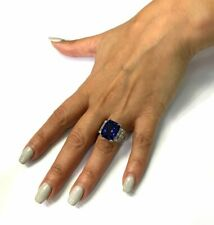 Tanzanite Center 16.01ct Radiant Cut Stone Engagement & Wedding Ring 925 Silver