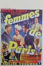 """""""FEMMES DE PARIS""""Affiche belge entoilée (Jean BOYER / Michel SIMON,Ray VENTURA)"""