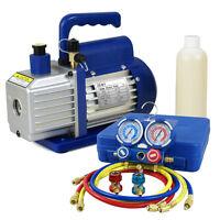 4CFM 1/3 HP Vacuum Pump HVAC Refrigeration AC Manifold Gauge carry tote r134