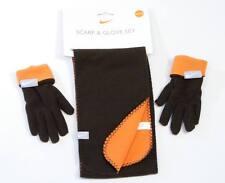 Nike Boys Brown & Orange Fleece  Gloves & Scarf  Youth Size 8-20 NWT
