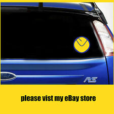 LEEDS UNITED CLASSIC SMILEY BADGE LUFC car/laptop stickers/decals window VINYL