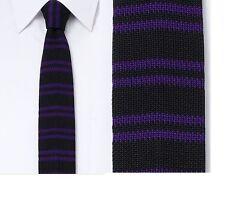 BNWT Rock & Republic Striped Skinny Tie Black Purple Men's