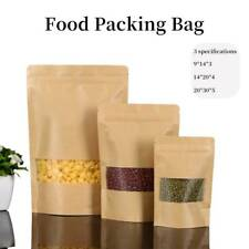 50Pc Stand-Up Zip Lock Kraft Paper Bags resealable re-seal food packaging pouch