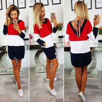 Womens Holiday O Collar Party Ladies Loose  Casual Beach Dress Long Sleeve Dress