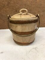 Mccoy USA Brown Ice Bucket Style Cookie Jar With Lid MCM Mid Century