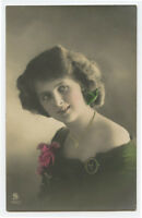 c 1912 Glamour Glamor SMILING YOUNG LADY Beauty photo postcard
