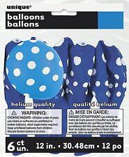 "Pack of 6 Royal Blue Polka Dots Latex Party Balloons 12"" (30 cm)"