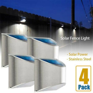 Solar 4 LED Deck Lights Garden Patio Outdoor Pathway Stairs Step Fence Wall Lamp
