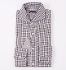 NWT $635 TOM FORD Brown-White Mini Check Cotton Shirt 15.5 Cutaway Collar