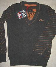 maglione/pull EVISU originale 100%-S(40/42)small-lana/wool-sotto giacca-grigio