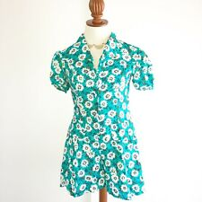 VTG NO BOUNDARIES 90s Sunflowers Romper Teal One Piece Jumpsuit Shorts Medium