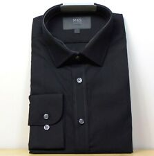 """M&s Baumwollmischung Slim Fit Langarm Shirt ~ Gr. 16.5"""" ~ schwarz"""