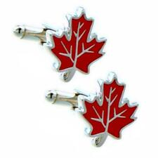 MAPLE LEAF CUFFLINKS Red Enamel Canada Pride Canadian Symbol Wedding w GIFT BAG