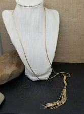 "Long Gold Tone Cube Tassel Sautoir Chain Necklace 30"""