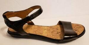 Womens Sz 9 Easy Spirit Black Patent Leather Flats Sandals Ankle Strap
