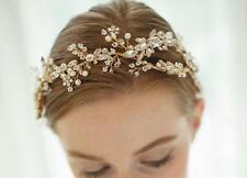 Luxury Gold Floral Vine Bridal Halo Crystal Beaded Headdress Wedding Headpieces