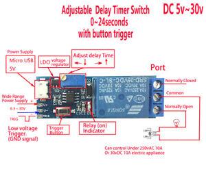 Adjustable Auslöser Delay Time Switch DC 5v 12v 24v Timer Board Relay Module Car
