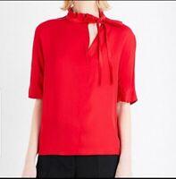Sandro Red Angie Satin Asymmetric Tie Neck Short Sleeve Blouse NWT Sz Large
