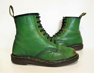 SUPER RARE! Ladies Dr Martens made in England Green leather boots Size UK 7