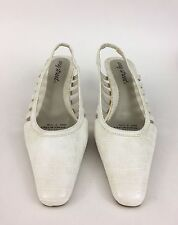 Easy Street Shoes Sz 6.5M Beige White Square Toe Sling Back Heels Stretch Womens