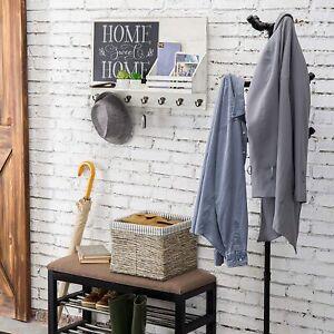 Vintage White Wood Wall-Mounted Organizer w/ Chalkboard, Mail Sorter & Key Hooks