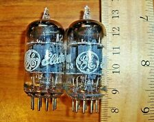 2 Strong Matched GE Short Gray Plate O Getter 12AU7A / ECC82 Tubes