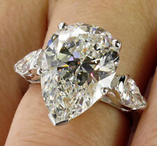 Certified 6.50ct  Pear cut 3 Diamond 14K White Gold Engagement / Wedding Ring