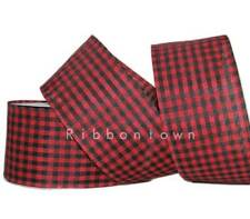 "Red Gingham Farmhouse Wire Ribbon 2.5/"" Country*Rural*Pig*Cow*Chicken*2 LENGTHS"