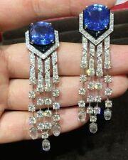 Transparent Vivid Blue Cushion 25.30 Carat Sapphire With 925 Silver & CZ Earring