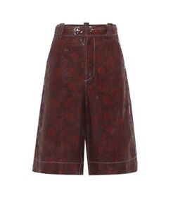 Ganni Python Red Leather Culotte Shorts 36 UK 8-10 Cost £345 Net A Porter