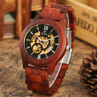 Men's Wooden Watch Red Sandalwood Automatic Mechanical Wris Watches Bamboo Band