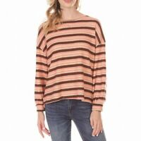 Lush Womens Waffle Knit Top Coral Brown Size Large L Thermal Striped $44- 903