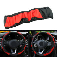 Universal Car SUV 15'' Steering Wheel Cover Carbon Fiber Microfiber Leather Red