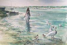 """Raro Nuevo Magnífico Original Gordon King """"Cisne Harbour"""" Chica en la Playa Pintura De Dama"""