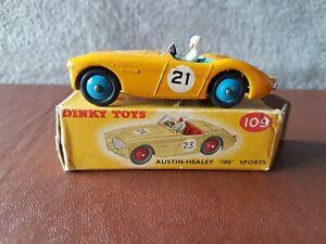 Dinky Toys #109 dark yellow Austin-Healey 100 Sports No 21 & original box