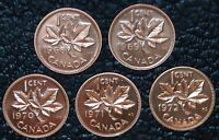 CANADIAN GEM 1 CENT PENNIES - LOT OF 5 - 1968-1972 - Pulled from PL Sets - NCC
