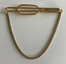 Tie Bar Clip with Chain A4-41 Vintage Swank Signed 10K Gold Plated