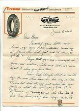 Vintage Illustrated Letterhead EARL UDICK TIRE SHOP Colorado Springs FIRESTONE