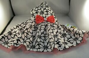 Wag-a-tude Dog Puppy Dress Top Black & White Floral - Pink Bow