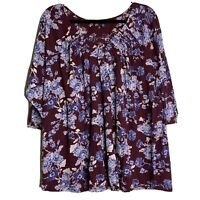 Lucky Brand Women's top tee Cotton purple blue floral Blouse Plus Size 3XL