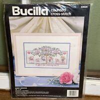 Vintage Bucilla Counted Cross Stitch Kit BUNNY WEDDING 10x6 1992 Wedding /Open